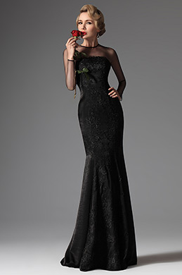 eDressit Black High Collar Mermaid Formal Evening Prom Gown (02145900)