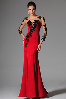eDressit Red Sheer Top Lace Long Sleeves Evening Prom Gown (02146302)