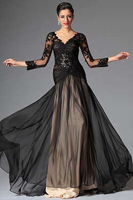 eDressit Black Sexy V-cut Evening Dress Prom Dress (02146900)