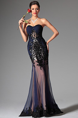 eDressit Navy Blue Sweetheart Sequin Evening Dress Prom Gown (02147605)
