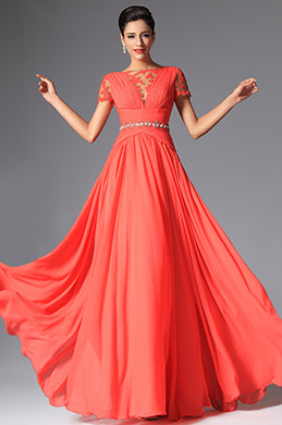 eDressit Coral Short Sleeves Evening Dress (02148257)