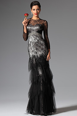 eDressit Black Overlace Sleeves Evening Prom Ball Gown (02149000)