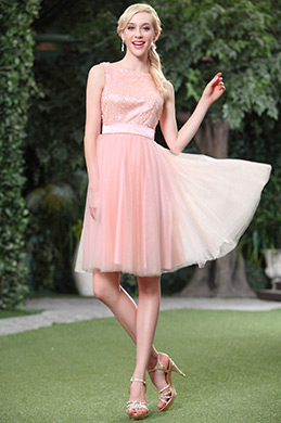 Pink Shiny Sequined Sleeveless Cocktail Dress Party Dress (04134401)
