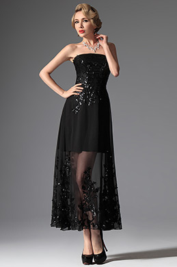 eDressit Black Sequins Strapless Ankle Length Formal Dress (04144900)