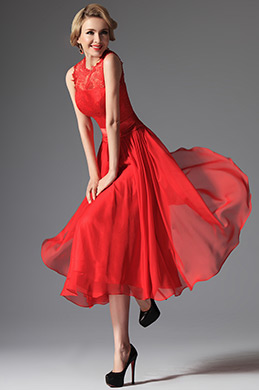eDressit Red High Collar Overlace Mid-calf Cocktail Dress (04145402)