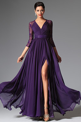 eDressit Purple V-cut Evening Dress Mother of the Bride Dress (26149606)