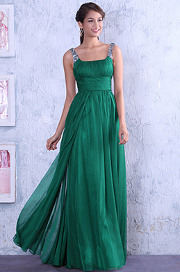 Bright Sequined Straps Fully Pleated Bodice Evening Dress(C00080904)