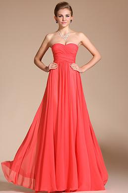 Rot Trägerlos Gefaltete Abendkleid Brautjungfernkleid (C00113957)