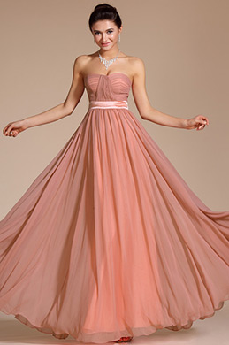 Simple Elegant Strapless Evening Dress Bridesmaid Dress (C00117346)