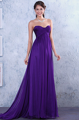 Purple Pleated Softened Sweetheart Neckline Bridesmaid Dress (C00117906)