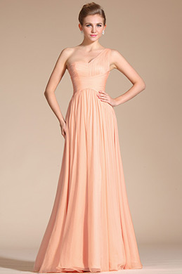 Fabulous One Shoulder Peach Evening Dress Bridesmaid Dress (C00120601)