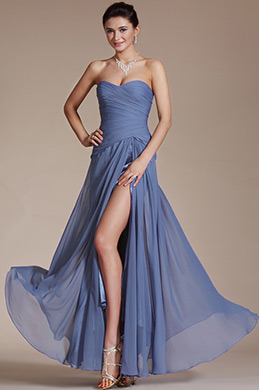 Pleated Bust Evening Dress Party Gown (C00129505)