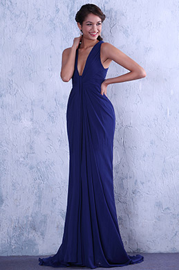 Blue Sexy Deep V-cut Neckline Evening Gown (C00130805)
