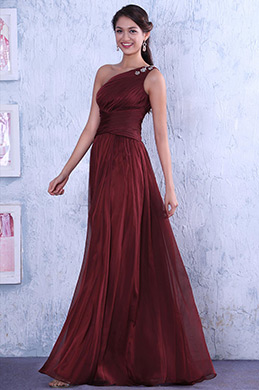 New Burgundy One Shoulder  Neckline Fully Pleated Prom Dress (C00130917)