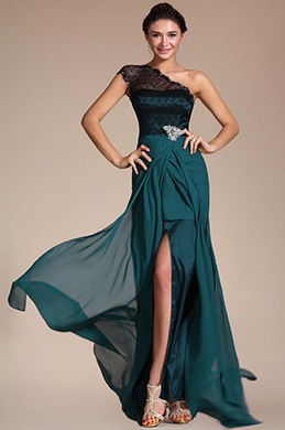 Elegant Lace Shoulder High Split Evening Dress (C00131605)