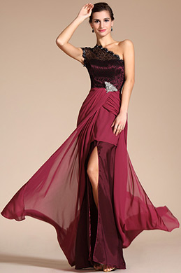 Elegant One Lace Shoulder High Split Evening Dress (C00131612) (C00131612)