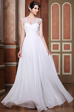 White Sweetheart Illusion Neckline Lace Applique Floor Length Wedding Gown (C00140107)