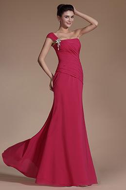Hot Pink One Shoulder Evening Dress Bridesmaid Dress (C00140612)
