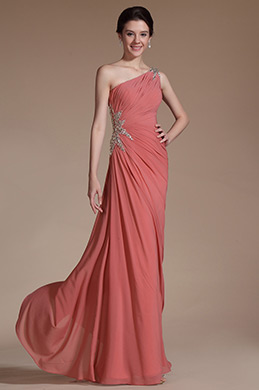 One Shoulder Beadings Decoration Evening Gown (C00140746)