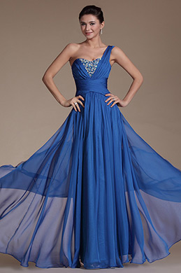 Blue One Shoulder Beadings Evening Gown (C00141005)