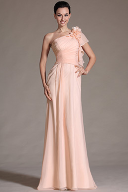 Pink One Shoulder Evening Dress Prom Gown (C00141101)