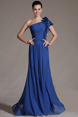 Stylish Blue One Shoulder Evening Gown (C00141105)