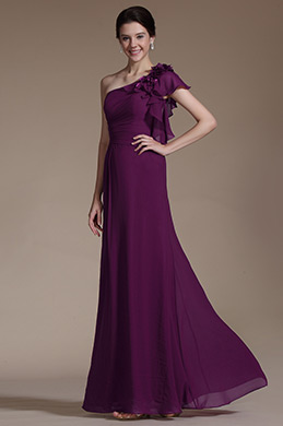 One Shoulder Flowers Evening Formal Dress (C00141117)