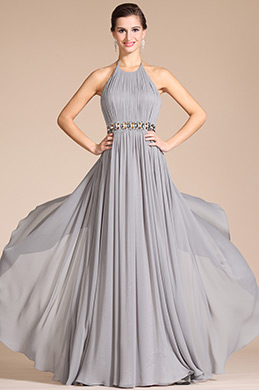 Grey Halter Style Evening Dress (C00142008)