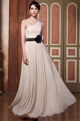 Simple One Shoulder Beige Floral Sash Evening Dress Formal Gown (C00143014)