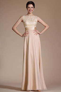 Sleeveless Lace Top Evening Dress Prom Gown (C00143914)