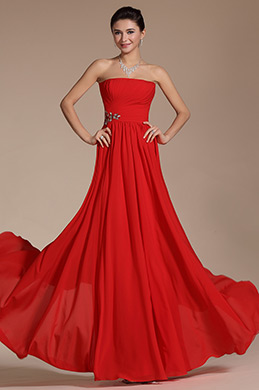 Simple Red Strapless Evening Dress Bridesmaid Dress (C00144002)