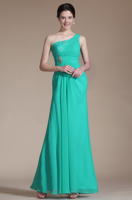 Turquoise One Shoulder Evening Dress Prom Dress (C00144911)