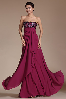 Stunning Strapless Hand-sewn Appliques Evening Dress(C00145712)
