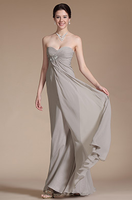 Grey Strapless Sweetheart Ruched A-Line Prom Dress (C00146008)