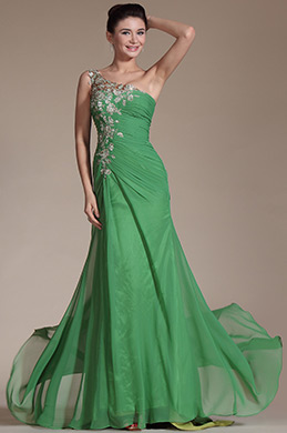 Green One Shoulder Lace Embroidery Evening Prom Gown (C00146418)
