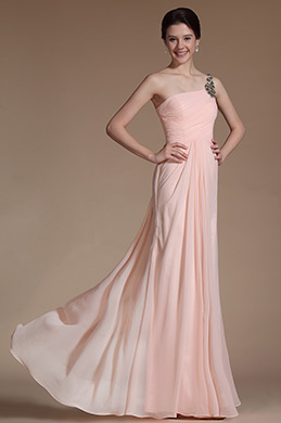 Lovely Pink One Shoulder Evening Dress (C00146701)