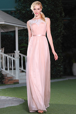 Sleeveless A-line Pink Evening Dress Bridesmaid Dress (C01140301)