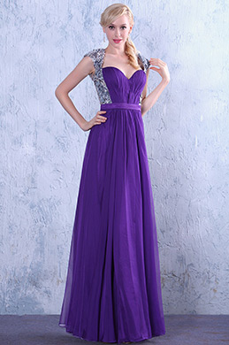 Stylish Sequined Shawl Sexy Open Back Prom Gown Evening Dress (C02130706)