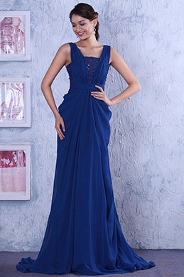 Sleeveless Sequined Lace Pleated Blue Long Formal Gown Evening Dress (C02131705)