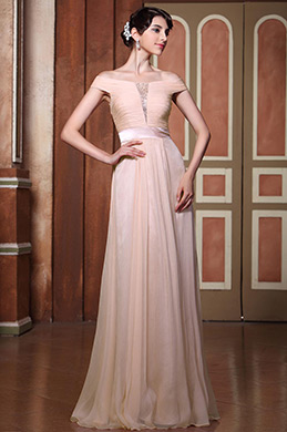 Sexy Beaded Tulle Peach Evening Dress Formal Gown (C02142601)