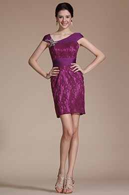 Hot Pink Cap Sleeves Cocktail Dress (C04140512)