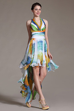 Simple Printed Halter Cocktail Dress Party Dress (C04140868)