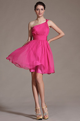 2014 Hot Pink One Shoulder Bridesmaid Dress Cocktail Dress (C07140112)