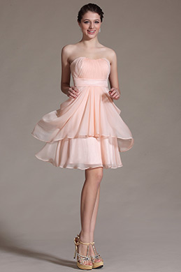 Sweetheart Pink Pleated Bridesmaid Dress Cocktail Dress (C07140601)