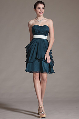 Sweetheart Pleated Bridesmaid Dress Cocktail Dress (C07140605)