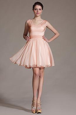 2014 Новое Милое Розовое Коктейльное Платье (C07140701)