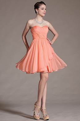 Simple Strapless Orange Cocktail Dress Bridesmaid Dress (C07140910)