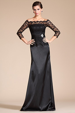 Black Lace Off Shoulder Mother of the Bride Dress (C26140100)