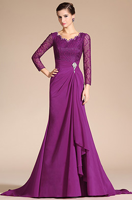 Sexy V-Neck Lace Top Sleeves Mother of the Bride Dress (C26140312)