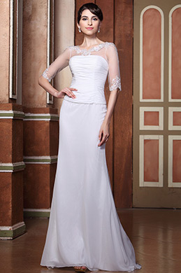 Elegant Sheer Beaded Top Half Sleeves Wedding Gown (C26146807)